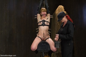 Red-lipped Mistress shoves fingers and an ass plug into a sub's mouth, then carelessly sets her on a Sybian. - XXXonXXX - Pic 12