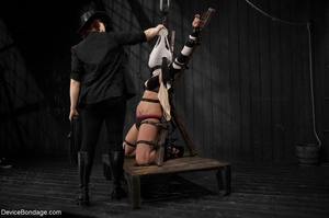 All-natural woman is bound in the most uncomfortable position as she takes the mistreatment well. - XXXonXXX - Pic 3
