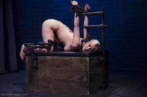 Ball-gagged blonde submissive does not seem to like it when Master slaps her pretty pussy. - XXXonXXX - Pic 7