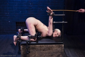 Ball-gagged blonde submissive does not seem to like it when Master slaps her pretty pussy. - XXXonXXX - Pic 10