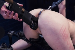 Ball-gagged blonde submissive does not seem to like it when Master slaps her pretty pussy. - XXXonXXX - Pic 11