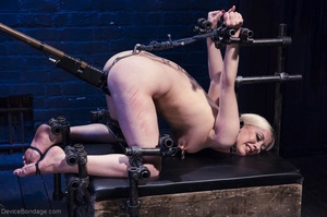 Ball-gagged blonde submissive does not seem to like it when Master slaps her pretty pussy. - XXXonXXX - Pic 12