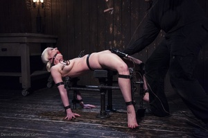 Ball-gagged blonde submissive does not seem to like it when Master slaps her pretty pussy. - XXXonXXX - Pic 17