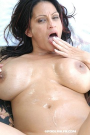 horny pool milf with