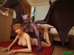 Horny demon is ready to bang this naughty redhead gal - Picture 3