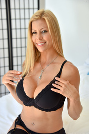 blonde mom black lingerie