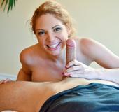 Busty blonde hottie rides her man's terrific magic stick