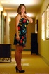 Hot chick in a colorful dress is here to flaunt her titties