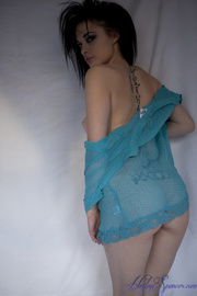 tattooed girl teal lace