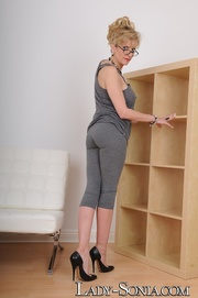 mature blonde grey outfit