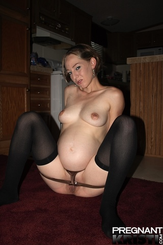 cheeky pregnant girl stockings