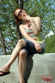 summery brunette loose dress