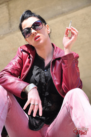 hot rock-chick leather-jacket and