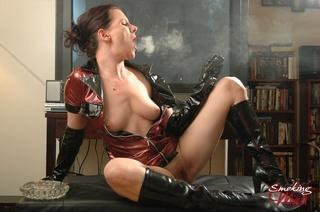 hot seductress red black