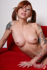 redhead red couch she