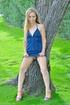 Blonde teen in sexy revealing blue dress loves big heavy balls inside