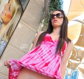 Spoiled popular girl gets sexy in the city and changes outfits in public