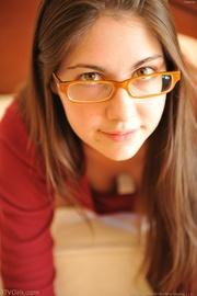 babe with glasses enjoys