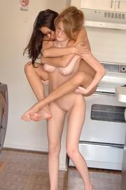 playful lesbians licking each