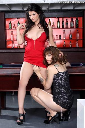Dark haired trans chick showing her big  - XXX Dessert - Picture 1