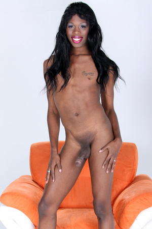 Petite shemale showing her fine black ma - XXX Dessert - Picture 1