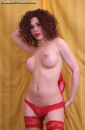 Latina tranny in stockings showing her b - XXX Dessert - Picture 4