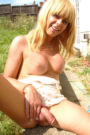 Blonde tranny displaying her hard meat p - XXX Dessert - Picture 1