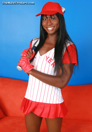 Horny baseball tranny showing her black  - XXX Dessert - Picture 2