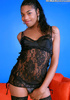 Young black tranny showing off in sexy lingerie