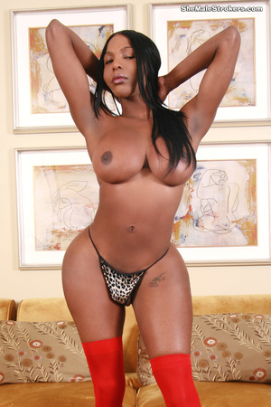 Black shemale in red stockings shows her - XXX Dessert - Picture 3