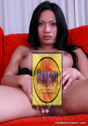 Dark haired tranny showing her dick on t - XXX Dessert - Picture 4
