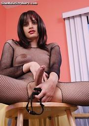 brunette tranny posing fishnet