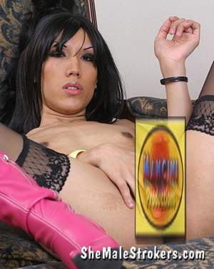 Freaky dark haired tranny showing her bi - XXX Dessert - Picture 2
