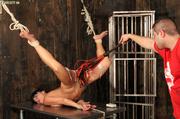 hot nude brunette caged