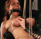 Busty chicks in spicy torture of binding, whipping, tits weights and toys