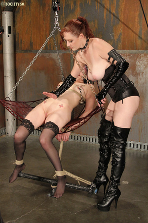 Nasty redhead pulls babe's hair, ties he - XXX Dessert - Picture 1