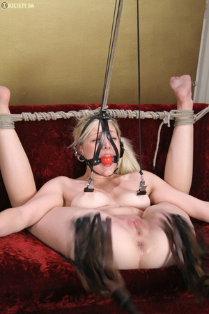 Cute blonde folded, racked, tied and gag - XXX Dessert - Picture 7