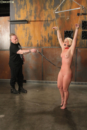 Cute blonde bound, upturned and whipped  - XXX Dessert - Picture 2
