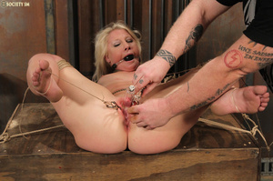 Cute blonde bound, upturned and whipped  - XXX Dessert - Picture 9