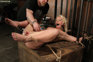 Cute blonde bound, upturned and whipped  - XXX Dessert - Picture 11