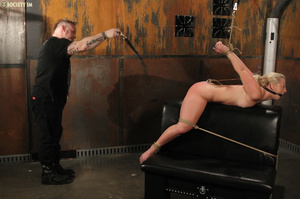 Cute blonde bound, upturned and whipped  - XXX Dessert - Picture 14