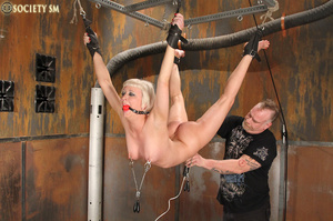 Lovely blonde tied, hung, gagged, shocke - XXX Dessert - Picture 12