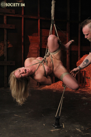 Hot chick roped, suspended and hung whip - XXX Dessert - Picture 6
