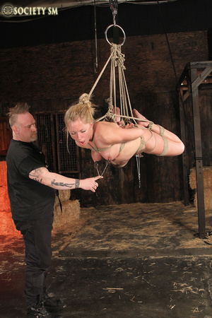 Hot chick roped, suspended and hung whip - XXX Dessert - Picture 7