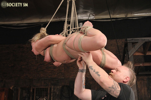 Hot chick roped, suspended and hung whip - XXX Dessert - Picture 13