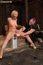 blonde roped hung gagged