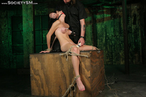 Sweet brunette tied, gagged, roped and s - XXX Dessert - Picture 9
