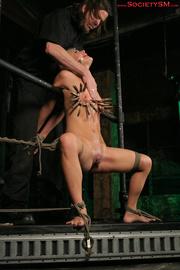 hot blonde bound suspended