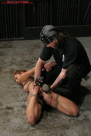 Sexy brunette roped, suspended, folded a - XXX Dessert - Picture 1