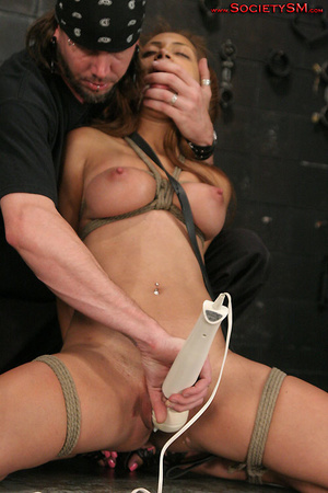 Sexy brunette roped, suspended, folded a - XXX Dessert - Picture 2
